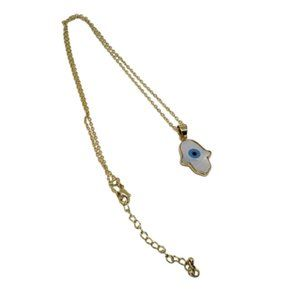 Bohemian Hamsa Evil Eye 14K Gold Shell Necklace